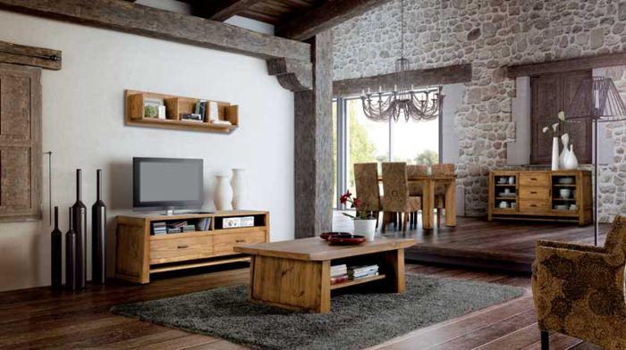 ejemplo decoración con muebles rústicos