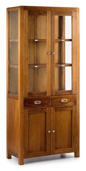 vitrina colonial de madera de teka