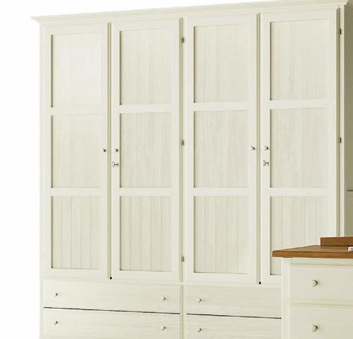 Armario cl sico 4 puertas en color blanco muebles - Puertas madera barcelona ...