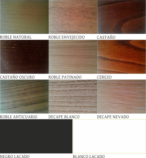 colores disponibles para escritorio rústico de roble ref ari 2175